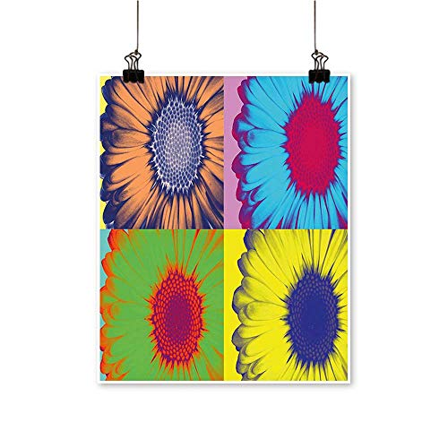 - for Home Decoration Pop Art Inspired Colorful Kitschy Daisy Flower Hard Edged Western Design for Home Decoration No Frame,24