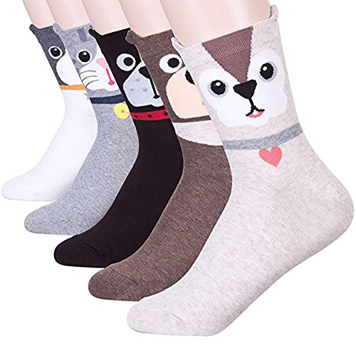 Womens Girls Best Socks Collection - Novelty Cute Lovely Animal Character Design Patterned, Perfect Secret Santa Present - Good for Gift Under $20 - One Size Fits All (Cutimal)