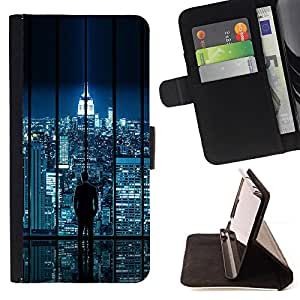 BullDog Case - FOR/Samsung ALPHA G850 / - / city skyline sci-fi futuristic night lights nyc /- Monedero de cuero de la PU Llevar cubierta de la caja con el ID Credit Card Slots Flip funda de cuer