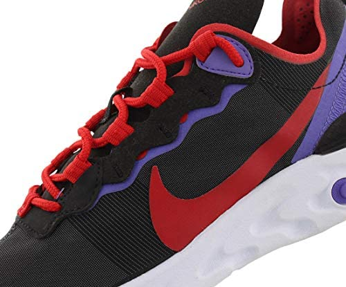 Nike Women's React Element 55 Running Shoes, 6.5, Black University Red