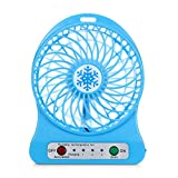 UMFun Portable Rechargeable LED Light Fan Air Cooler Mini Desk USB 18650 Battery Fan--Battery not included (Blue)