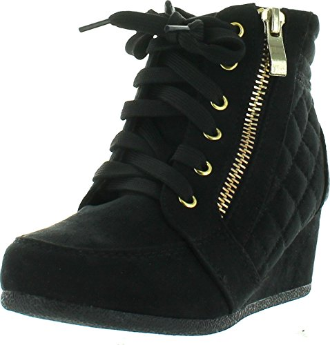 Link Peggy-63K children Girl's Wedge Heel Lace Up Diamond Shape Quilted Sneakers,Black,4