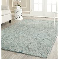 Safavieh Ikat Collection IKT631A Handmade Ivory and Sea Blue Premium Wool Area Rug (3 x 5)