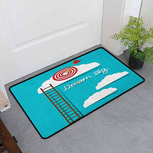 ONECUTE Outside Doormat,Inspirational Dream Big Phrase with Dart Board Fluffy Clouds Staircase Optimistic Attitude,Easy Clean Rugs,24