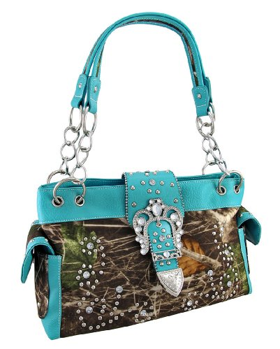 Camouflage Studded Rhinestone Buckle Purse Turquoise, Bags Central
