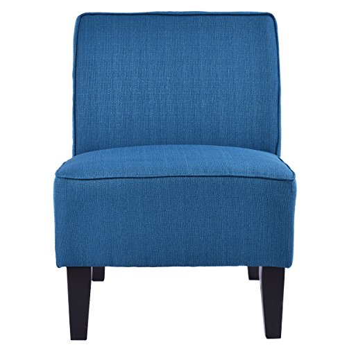 Comfortable Living Room Chairs (Giantex Deco Solids Accent Chair Armless Living Room Bedroom Office Contemporary (Blue))