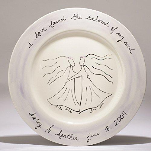 custom ceramic wedding platter for two brides by suzaluna