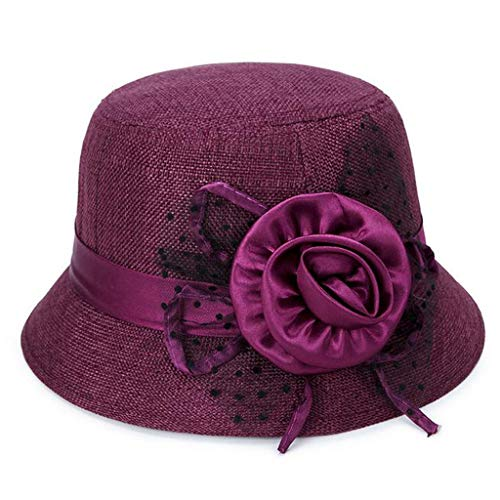 Kinglly Women's Sun Hat Spring and Summer Linen Sunshade Hat Ladies Sun Hat Purple