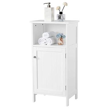 Yaheetech Bathroom Floor Storage Cabinet with Single Door and Adjustable Shelf White Finish Wood