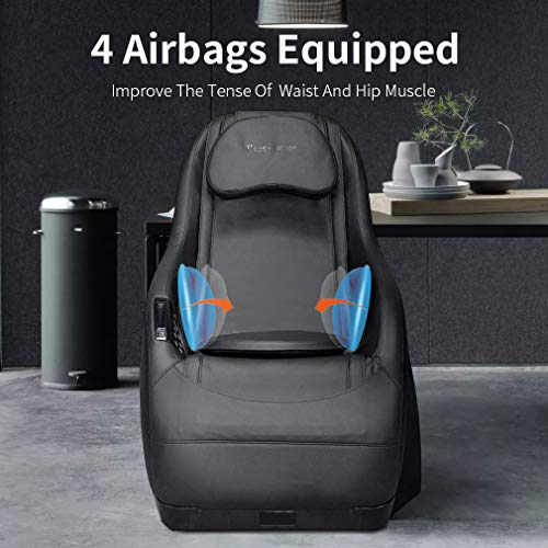 Full Body Electric Shiatsu Massage Chair Fully Assembled Video Gaming Chair with Airbag Massage SL-Track Curved Long Rail Wireless Bluetooth Speaker USB Charger for Office Home Living Room PS4,Black