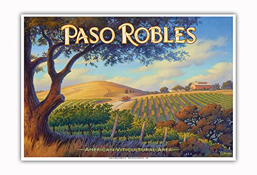 Pacifica Island Art - Paso Robles Wineries - San Luis Obispo - Central Coast AVA Vineyards - California Wine Country Art by Kerne Erickson - Master Art Print - 13in x 19in