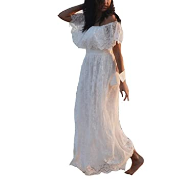 e43409a3abef5 Cloverdresses Off The Shoulder Beach Wedding Dresses Maxi Lace Boho Bride  Evening Dress Ivory 2