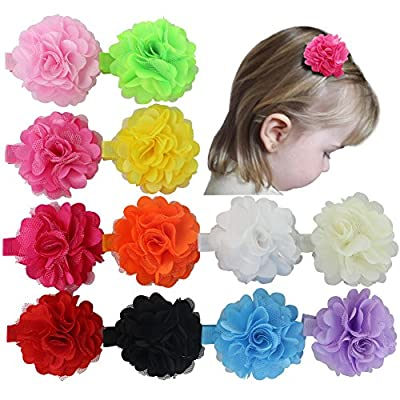 12pcs 2'' Satin Silk Carnation Rose Fabric Flower With Lined Hair Clips