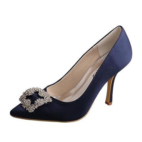 Azul Wedopus Pointy Mw353 Mujer Satén Stiletto Marino Toe Talón vnUxAnaq