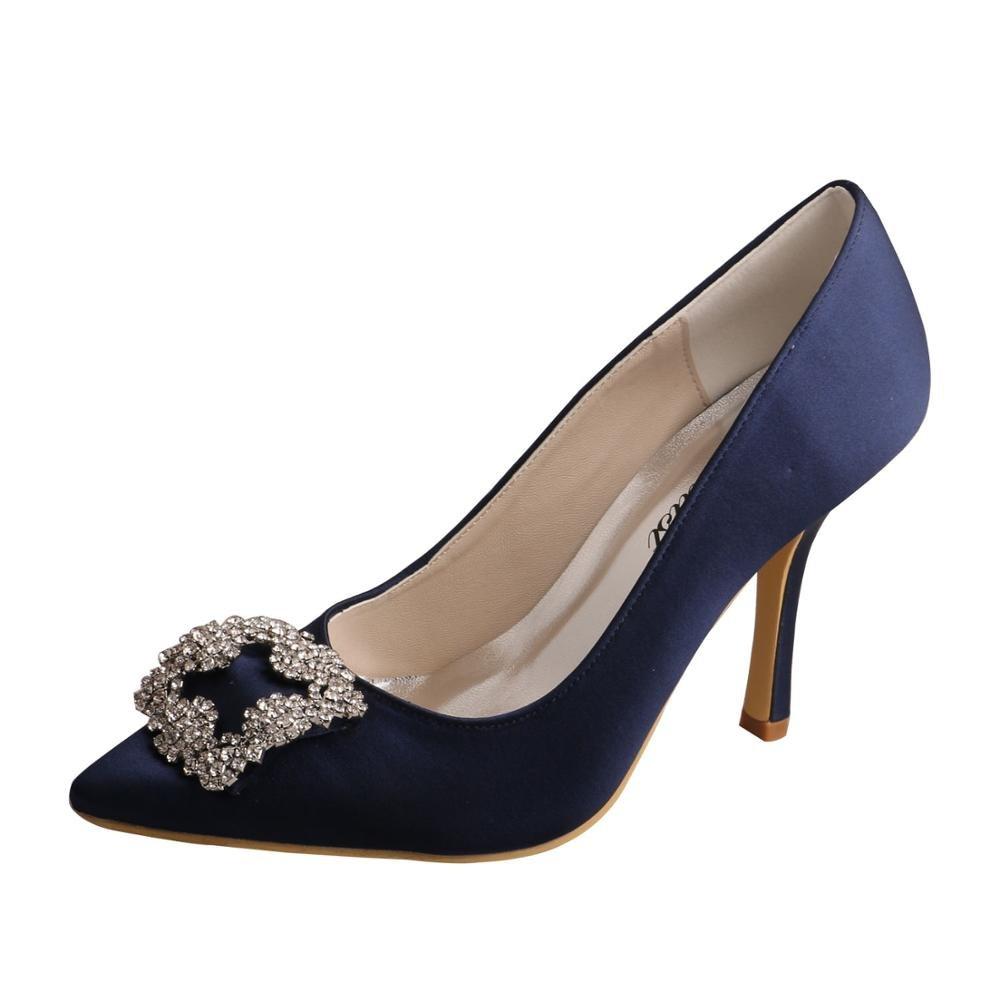 Galleon - Wedopus MW353 Women s Rhinestone Satin Pointy Toe Thin Heel Party  Dress Pumps Bridesmaid Wedding Shoes Size 9 Navy f69a9408ec47