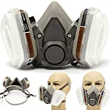 Half Facepiece Respirator Reusable Half Gas Mask Anti-Dust Paint Industrial Gas Mask with 2 Filters and Ink Cartridges for Chemicals Pest Control,Machine Polishing, Welding,Painting(White)