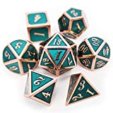 Haxtec D&D Metal Dice Set of 7 Die for Dungeons and Dragons Roleplaying Games-Copper Teal Metal Dice