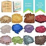 Mica Powder - Soap Making Kit - 4.3 Ounce Powder Pigments with eBONUS -Slime Supplies - Epoxy Resin Dye- Bath Bomb Colorant - Makeup Dye - Organic Supplies for Soap Molds