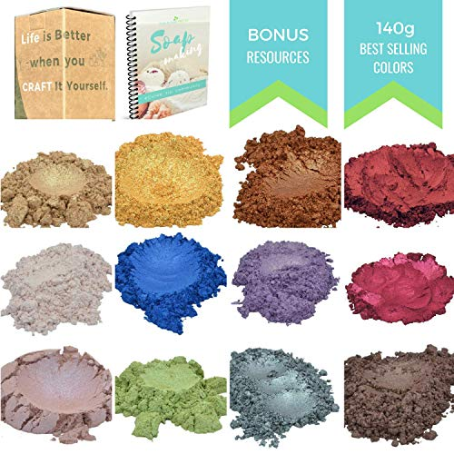 All-Time Favoraite  Mica Powder - All-Star Kit  - 140 Gram - Slime - Soap, Candle - Bath Bomb - Cosmetic - Resin Making Natural Dye - Soap Supplies