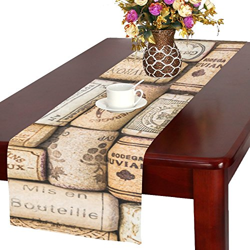 InterestPrint Wine Corks Polyester Table Runner Placemat 16 x 72 inch, Vintage Tablecloth for Office Kitchen Dining Wedding Party Home Decor