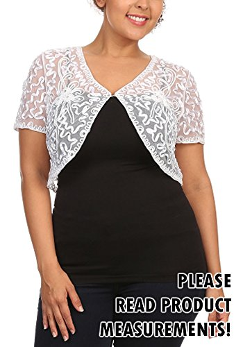 Womens Plus Size Shrug Short Sleeve Sheer Dressy Holiday Cropped Bolero Cardigan (2x, White)