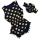 Messy Code Baby Navy Romper Gold Dot Pompom Jumpsuit with Headband 24 Months