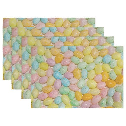 WIEDLKL Easter Jelly Beans Candy Pastels Round Placemats Set