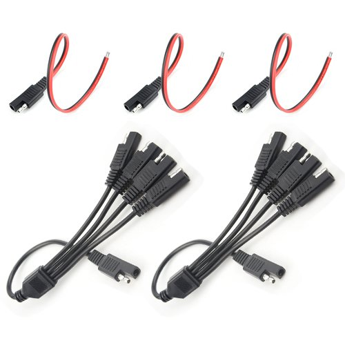 WGCD 3 PCS SAE 2 Pin Quick Connect Disconnect Plug and 2 PCS 1 to 4 SAE Power Extension Cable Adapter Connector