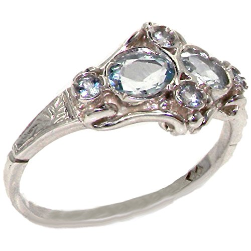 925 Sterling Silver Natural Aquamarine Womens Cluster Ring - Sizes 4 to 12 Available (Large Aquamarine Ring)
