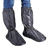 Hilitchi Men Black Waterproof Rainstorm Rainy Day Rain suit Raingear Motorcycle Outdoor Protective Gear Rain Boot Shoe Cover Zipper US 10-11 / Euro 44-45 (Black, US10-11/Euro44-45)
