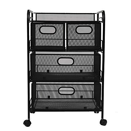 Mind Reader 4DRMESH-BLK 4 Rolling Mesh, Metal Drawers, File, Utility, Office Storage, Heavy Duty Multi-Purpose Cart, Silver, Black