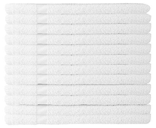 WhiteBasics Cotton Hand Towels for Hotel-Spa-Salon-Gym-Bathroom - Super Soft Absorbent Towels- 12 Pack - White - 16x27 Inch by White Classic (Image #1)