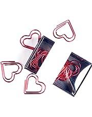 Scrox Caja de 12 Clips de Papel metálico Pinzas Forma Corazón Creativa Clips Oficina Portátil Moda