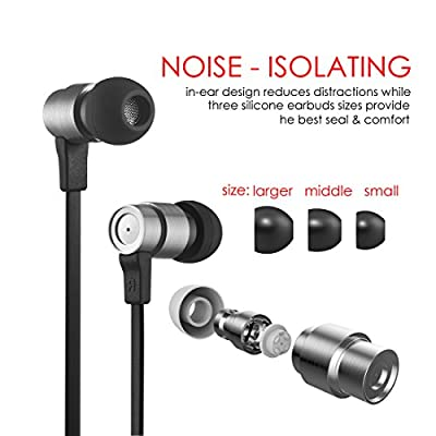 Wallytech W805 Metal Earphone with Built-in Mic Headset Earbuds with Volume Control. Noise Isolating Headphones Compatible Apple iOS NEW Version & Samsung Android NEW Version Phones(silver)