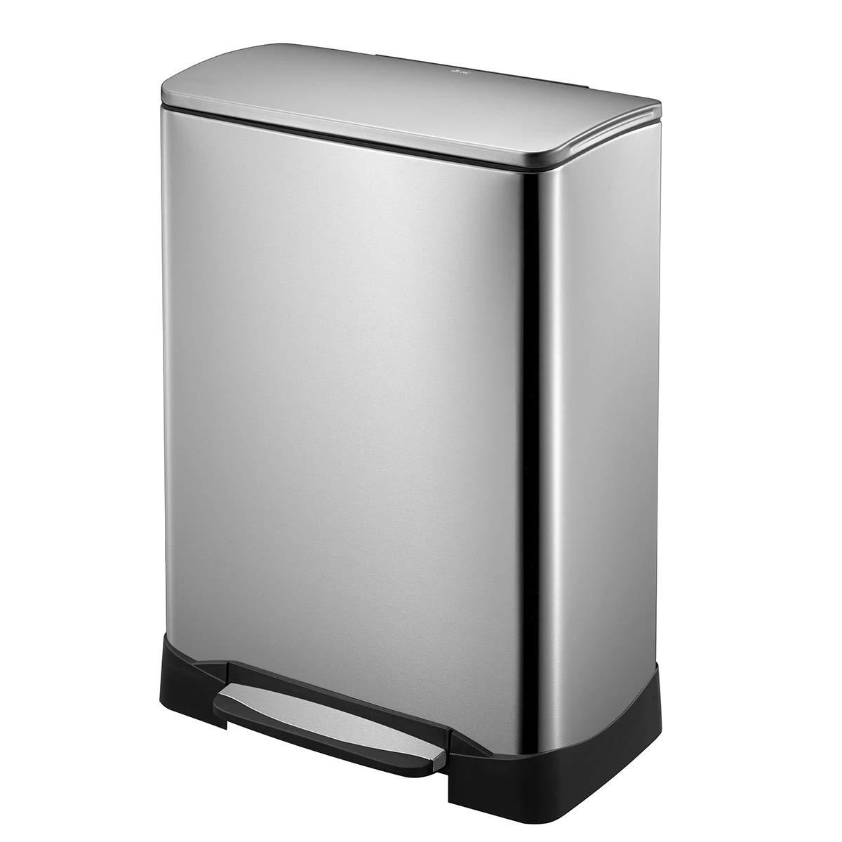 EKO NeoCube Stainless Steel Recycle 28L + 18L Step Trash Can EK9290MT-28+18L