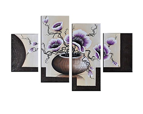 Noah Art Romantic Flower Art, Blooming Tulips in a Vase Flower Picture 100% Hand Painted Contemporary Oil Paintings of Flowers On Canvas, 4 Panel Framed Purple Floral Wall Art for Bedroom Wall Decor