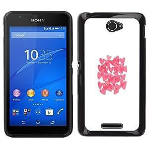 Sony Xperia E4 Único Patrón Plástico Duro Fundas Cover Cubre Hard Case Cover - Butterfly White Clean Pink