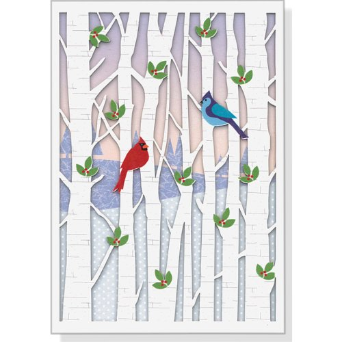 Birds in Birches Holiday Boxed Cards (Laser Cut) (Christmas Cards, Holiday Cards, Greeting Cards)