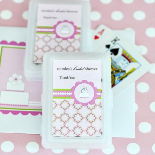 Personalized Playing Cards - Pink Cake - Total 50 items (Wedding Personalized Favors Playing Cards)