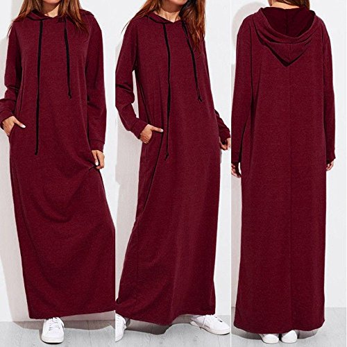 Hengshikeji Women Dress Plus Size Fashion Ladies Solid Long Sleeve Hooded Pocket Maxi Dress Casual Loose Hoodies Long T-Shirt Dresses Gray