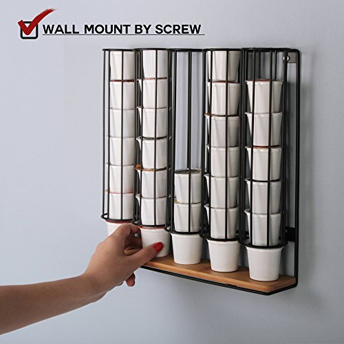 JackCubeDesign Wall Mount Bamboo 35 K-Cup Dispenser Holder Organizer Stand Storage Box K Cup Holder Hanger with 5 Black Iron Compartments - :MK189C (Keurig Cup Holder Wood)