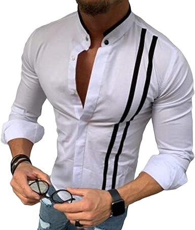 Camisa a Rayas Hombre - Collar del Soporte Manga Larga Shirt Slim Fit Casual Fiesta Club Oficina Boda Blusas Tops Verano Primavera Camisa: Amazon.es: Ropa y accesorios