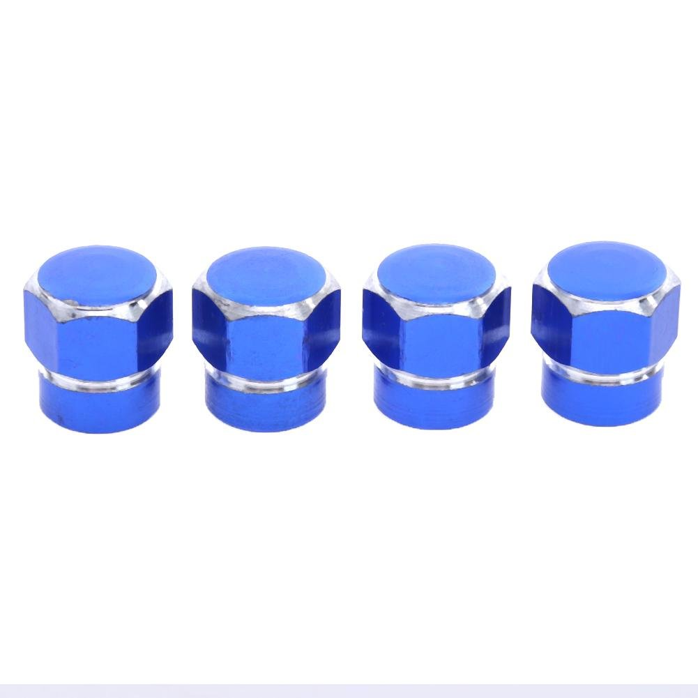 V/álvula de Neum/ático Starnearby 4Pcs Universal de Aluminio Rueda de Coche Neum/ático V/álvula V/ástago Tapas Cubiertas de Polvo Azul