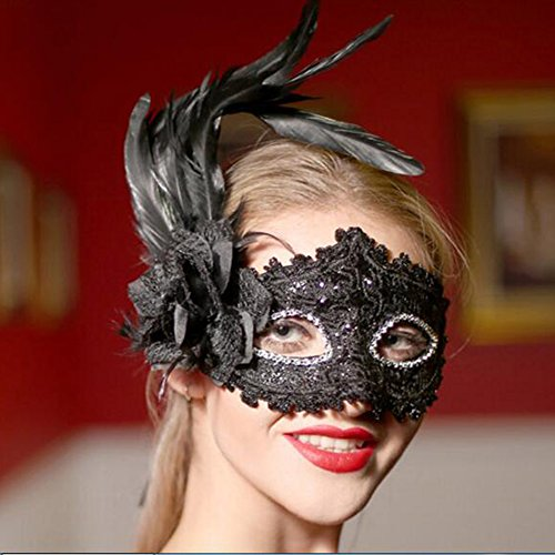 Dongcrystal Venetian Flower Masquerade Masks Mardi Gras Costume with Feather For Party - Black