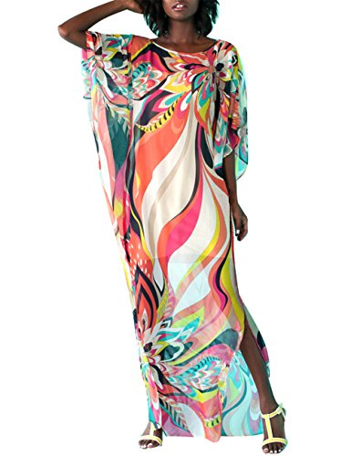 Bsubseach Women's Colorful Floral Print Chiffon Swimwear Turkish Kaftans Swimsuit Cover up Caftan Beach Long Dress ()