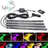Car LED Strip Light,Interior Car Lights,4pcs 72 LED DC 12V Multicolor RGB Music Atmosphere Neon Under Dash Lighting Kit with Sound Active Function and Wireless Remote Control,Car Charger Included (72LED)