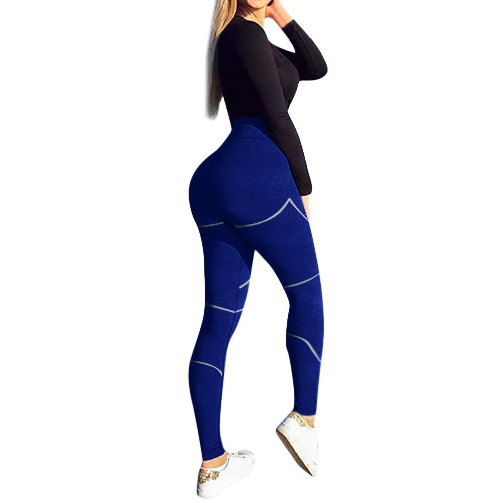 Women's High Waist Yoga Pants Butt Lifting Tummy Control Slimming Booty Leggings Workout Running Leggings Tights Blue
