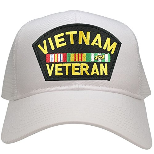 Military Vietnam Veteran Large Embroidered Iron on Patch Adjustable Mesh Trucker Cap - WHITE