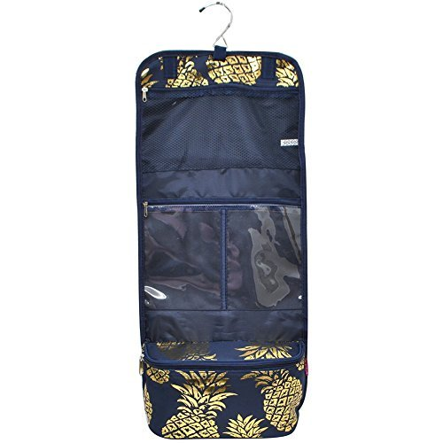 Southern Pineapple Print NGIL Toiletry Cosmetic/Jewelry Organizer Travel Pouch Gold Collection