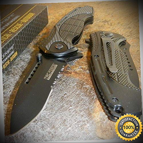 TAC-FORCE Black Speed Assisted Opening CARBON FIBER Speedster Knife - outdoor for camping hunting